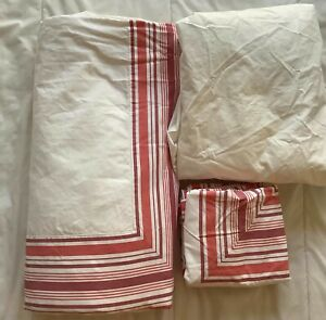 4 pc. Lands' End red white QUEEN duvet cover pillow shams bed skirt set cottage