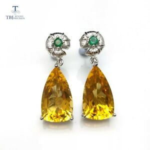 2019 New Large earring 13ct Earrings Natural Citrine Emerald 925 Sterling Silver