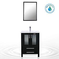 "Modern Bathroom Vanity Cabinet 24"" Vessel Ceramic Sink Drop in W/Faucet Combo"