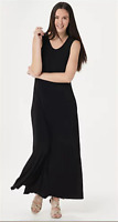 Attitudes by Renee Regular Como Jersey Solid Maxi Dress - Black - Large