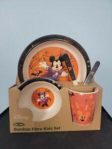 Disney Vampire Mickey Halloween Minnie Bamboo Fiber Kids 5 Pc Mealtime Set