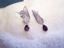 Beautiful Karis Collection Purple Diamond Earrings Angel Wings Cuffs TGW 6.15cts