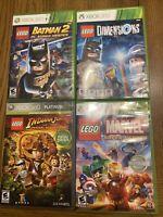 Lot of 4 Xbox 360 Video Games -LEGO Indiana Jones Súper Heroes and Batman 2