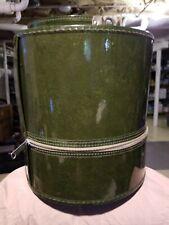 vtg Carry on Green Wig/Hat Box Travel Case/Handle Styrofoam Head mod 60s vinyl