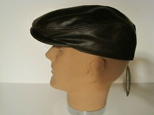 SCALA Classic Brown burgundy Leather driving Cap Hat S/M