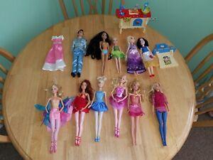 Barbie Dolls Disney Princess Dolls Lot Ballerina Prince Charming Tinker Bell +