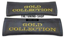 2x SEAT BELT COVERS SHOULDER PADS LEATHER GOLD COLLECTION EDITION