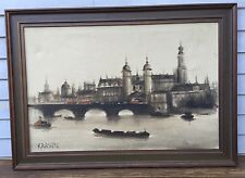 Artist Signed KRASIN Antique Oil Painting Waterloo Bridge London, Monet Era EXC!