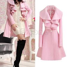 Women's Warm Ruffle Falbala Blend Long Coat Jacket Outwear Overcoat Parkas