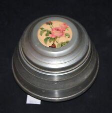 LMAS ~ Vintage Metal Musical Vanity Powder Box w Rose Design