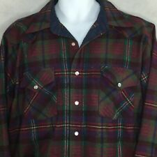Vintage Pendleton Shirt Sz L Pearl Snap High Grade Western Wear Red Plaid Wool