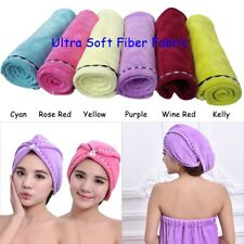 2PCS Lady Ultra Soft Bath Hair Towels Wrap Twist Drying Turban Shower Cap Hat