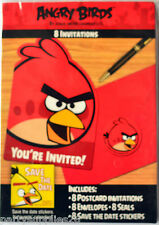 ANGRY BIRDS PARTY SUPPLIES POSTCARD INVITATIONS PACK OF 8 ENVELOPES 8 SEALS