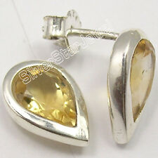 925 Sterling Silver Fancy CITRINE EXTRA ORDINARY Studs Post Earrings 1.2 CM NEW