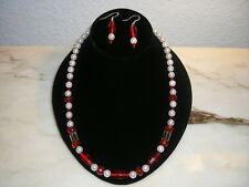 Red and Pearl White necklace set