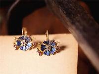 Boucles d'Oreilles Dormeuse Doré Bleu Marine Rose Email Fleur Soleil Vintage A15