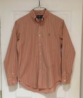 Men's Polo Ralph Lauren Button Down Shirt Classic Fit Orange Green Stripes M EUC