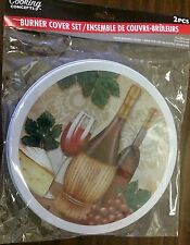 "Set of 2 STEEL STOVETOP BURNER COVERS, WINE & GRAPES (1 big 10"", 1 small 8"")"