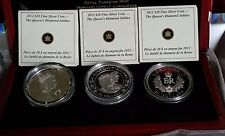 2012 $20 Queen's Diamond Jubilee Set of 3 Silver Coins with Box & COA's
