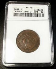 OLD RARE CANADIAN COINS ANACS 1859 XF45 DOUBLE PUNCH TYPE # 2 CANADA LARGE CENT