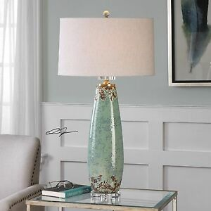 "ROVASENDA XXL 35"" CRACKLED AGED CERAMIC ROVASENDA TABLE LAMP CRYSTAL BASE"
