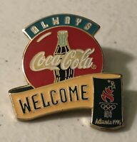 Always Coca Cola Coke Welcome Atlanta 1996 Olympic Games Sponsor Lapel Pin ~ USA
