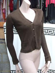 Designer DKNY Fabulous 100% Linen Brown Cardi Stylish Knitted Cardigan Petite