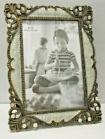 """4X6"""" Antique Vintage Style Brass Crystals Enamel Jeweled Picture Frame"""