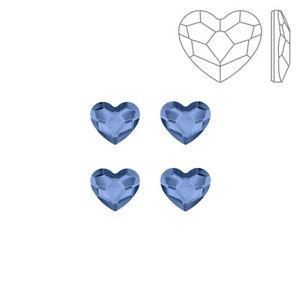 Swarovski 2808 Crystal Hotfix Flatback Heart Denim Blue 6mm Pack of 4 (K72/6)