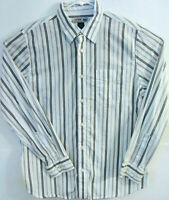 Urban Up Pipeline Mens Size L Long Sleeve Button Front Striped 100% Cotton Shirt