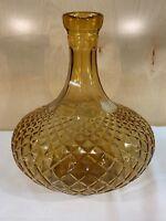 Amber Glass Bottle Decanter Diamond Point Genie Vase Vintage Mid Century Modern