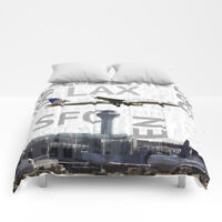United Airlines Boeing Airbus A320 with ORD Art - Queen Size Comforter