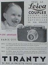 PUBLICITE LEICA COUPLEX APPAREIL PHOTO TIRANTY BEBE ENFANT DE 1932 FRENCH AD PUB