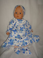 "L Blue Teddy, Bonnet & Booties. Fit  Baby Born/Annabell16/18"" Doll"