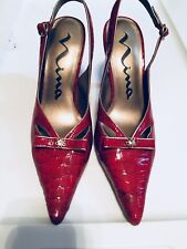 Vintage stiletto Nina pointy toe alligator look high heel shoes red size 6 New