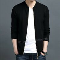 Fashion Men Korean Trench Coats Slim Sweater Fit Knitted Jacket Knitwear Outwear