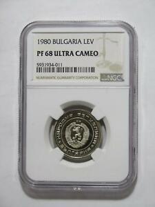 BULGARIA 1980 1 LEV NGC GRADED PROOF PF68UC ULTRA CAMEO WORLD COIN 🌈⭐🌈