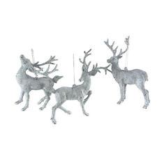 Christmas Plastic Glitter Reindeer Ornaments, 6-Inch, 3-Piece