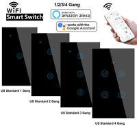 1/2/3/4 Gang Smart Light Switch WIFI Wall Touch Panel Socket Alexa Google Home