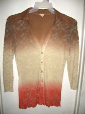 Reba Ombre Textured Lace Overlay Brown Cream Orange Button Front Top Shirt M