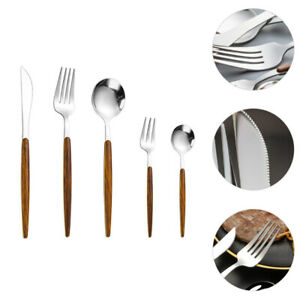 5Pcs Sturdy Chic Knives Forks Spoons Set Stainless Steel Tableware
