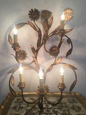ITALIAN TOLE Gold Gilt Wall Light Sconce Chandelier 5 ARM Hollywood Regency