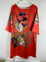 Soft Surroundings Womens Shift Dress Multicolor Floral Slit Scoop Bell Sleeve S