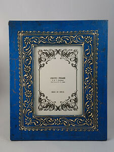 """Blue distressed  Hand Crafted, Painted Wooden Photo Frame, Photo size 5""""x7"""""""