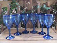 "New listing Hand-blown~Cobalt Blue~8¼"" Goblets~Six"