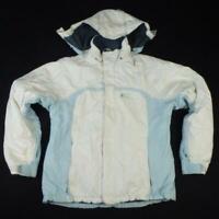 O'NEILL Ski Jacket Size XL White Light Blue Hood Womens Waterproof Winter Coat