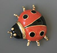 Large Ladybug brooch pin  enamel on metal.