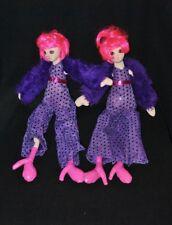 Lot 2 peluche doudou poupée SEPHORA Stacy Fever Noël 2007 boa violet 38 cm TTBE