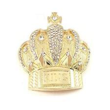 Royal King Crown Cross HIP HOP Clear Rhinestones  Fashion Metal Gold Belt Buckle