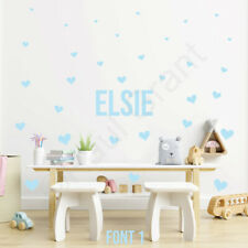PERSONALISED VINYL NAME DECAL STICKER + 30 HEART STICKERS,  KIDS ROOM, TOY BOXES